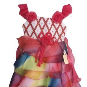 Multi Colored Party Dress Girl Size 4 NWT
